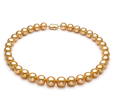 Ожерелье из золотистого морского Австралийского жемчуга 9,7-11,7 мм