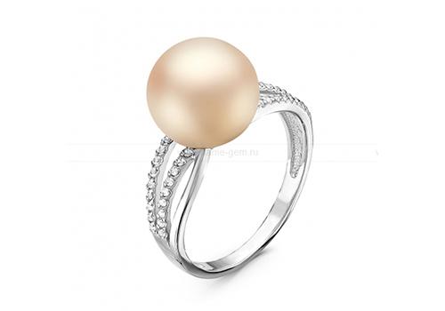 Кольцо из серебра с розовой речной жемчужиной 10,5-11,5 мм