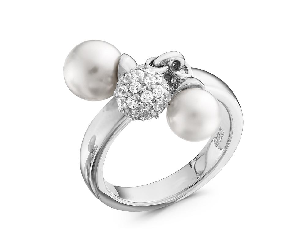 Кольцо из серебра с белыми речными жемчужинами 6-7,5 мм