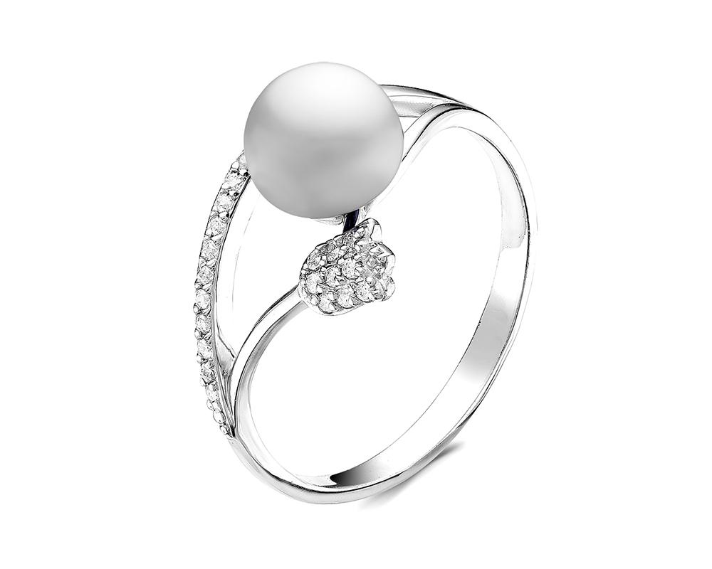 """Кольцо """"Тюльпан"""" из серебра с белой речной жемчужиной 7,5-8 мм"""