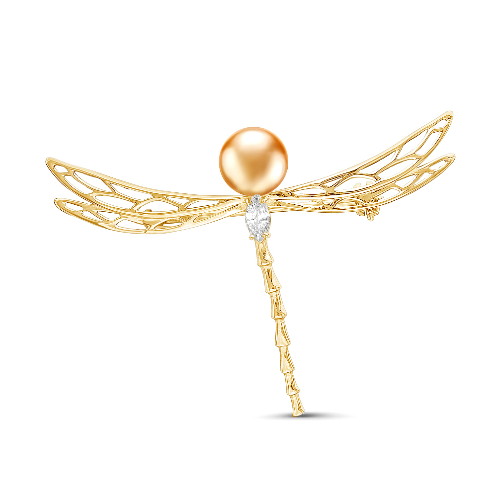 """Брошь из серебра """"Стрекоза"""" с золотой морской жемчужиной Акойя. Жемчужина 7,5-8 мм"""