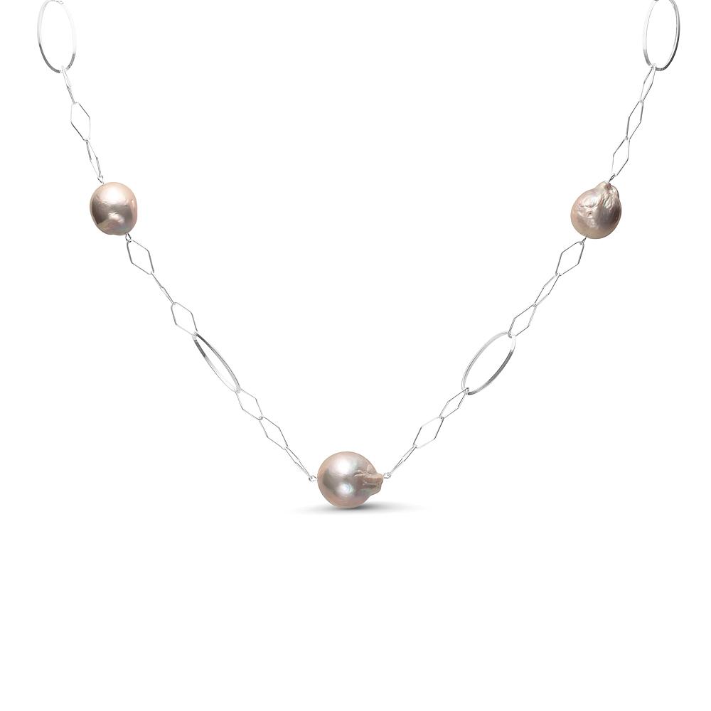 Цепочка из серебра с серебристыми барочными речными жемчужинами 13-16 мм