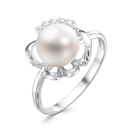 Кольцо из белого золота 585 пробы с белой жемчужиной 8,5-9 мм