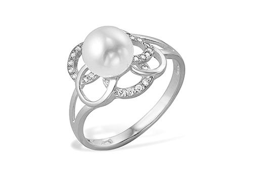 Кольцо из белого золота 585 пробы с белой жемчужиной 7,5 - 8 мм