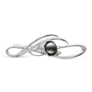 Брошь из серебра с черной Таитянской жемчужиной 12-12,5 мм