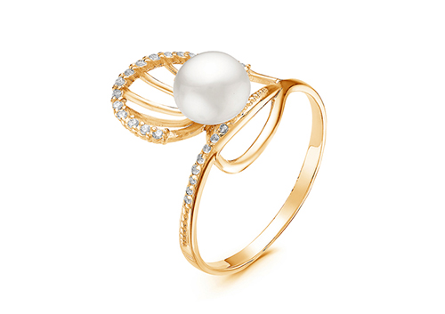 Кольцо из серебра с белой речной жемчужиной 7-7,5 мм
