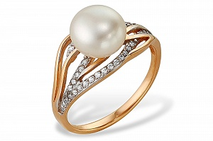 Кольцо из красного золота с белой речной жемчужиной 8-9 мм