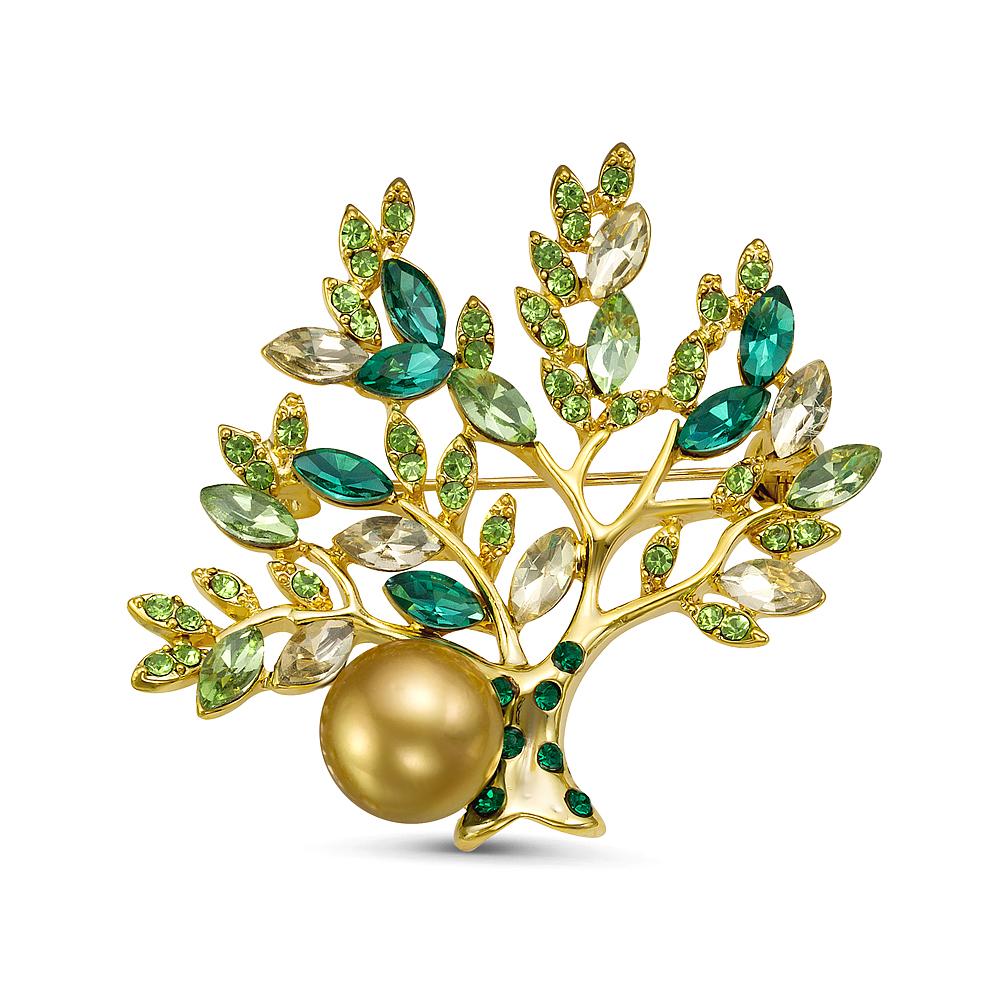 """Брошь """"Деревце"""" с Австралийской золотой жемчужиной 10,6-10,9 мм"""