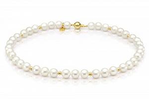 Ожерелье из белого жемчуга со вставками из серебра. Жемчужины 8-8,5 мм