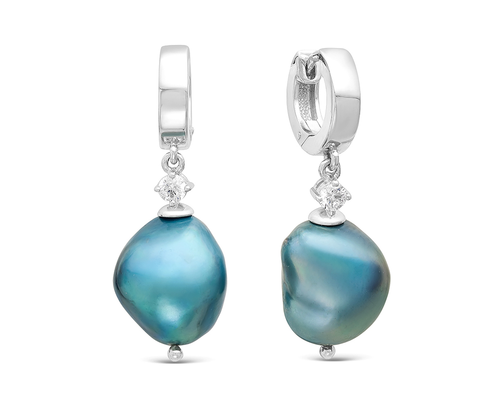 Серьги из серебра с голубыми барочными жемчужинами 13-16 мм