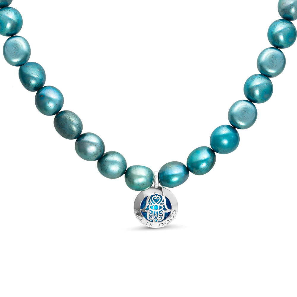 Ожерелье из голубого барочного жемчуга с кулоном. Жемчужины 11-12 мм