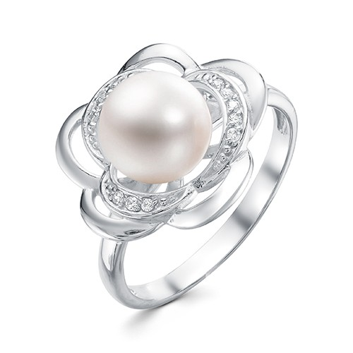 """Кольцо """"Роза"""" из серебра с белой речной жемчужиной. Жемчужина 8,5-9 мм"""