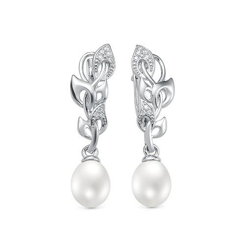 Серьги из серебра с белыми каплевидными жемчужинами. Жемчужины 7,5-8 мм