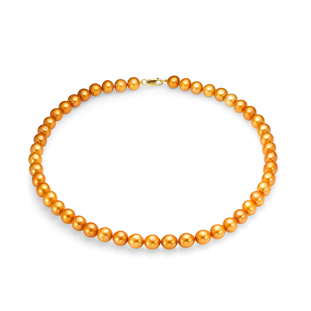 Ожерелье из золотистого речного жемчуга. Жемчужины размером 9-10 мм