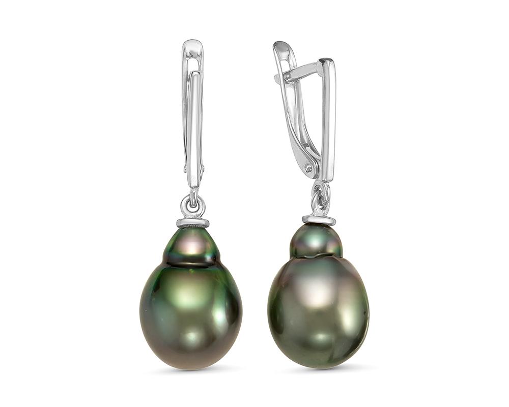 Серьги из серебра c черными морскими Таитянскими жемчужинами 10-11 мм