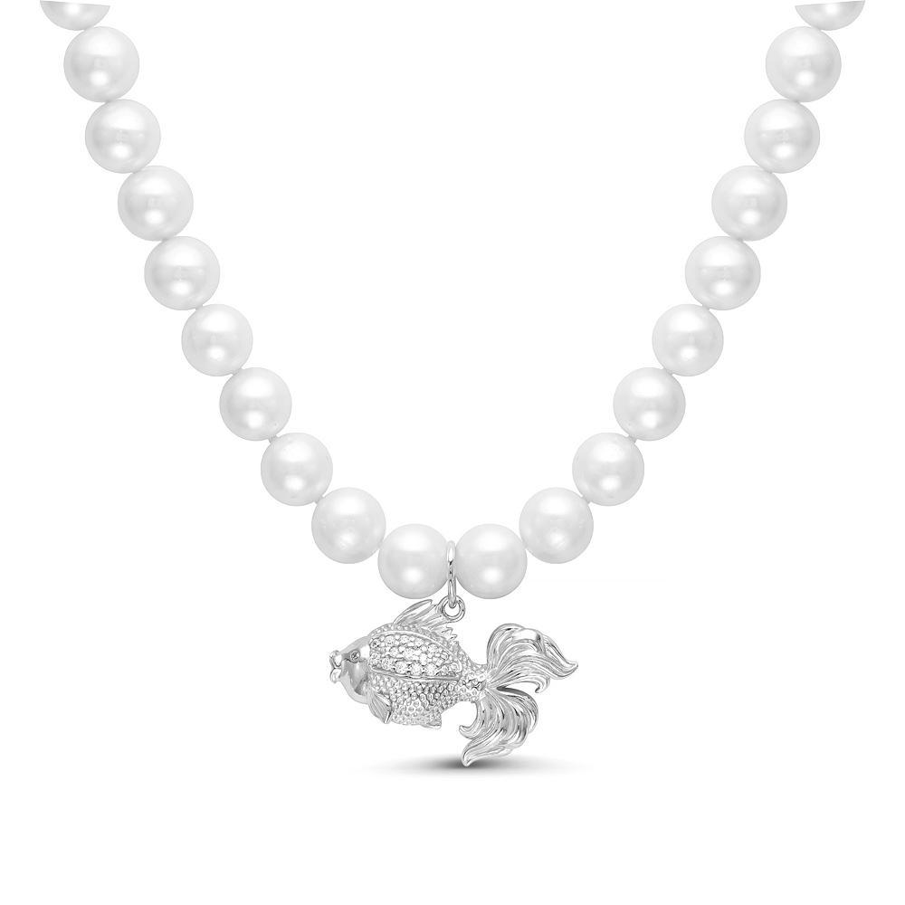 Детское ожерелье с подвеской. Белый жемчуг 7-7,5 мм