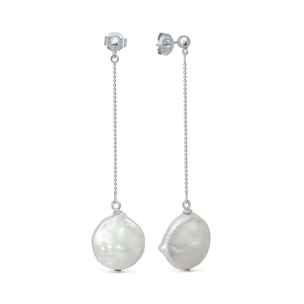 Серьги из серебра с белым барочным жемчугом. Жемчужины 15-16 мм