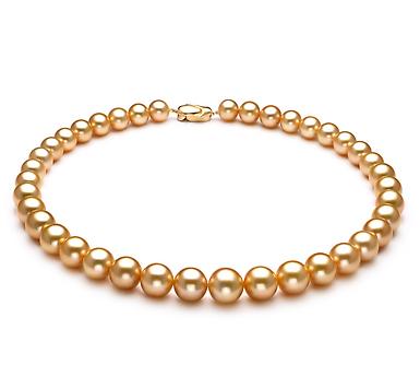 Ожерелье из золотистого круглого морского Австралийского жемчуга 9,7-11,7 мм