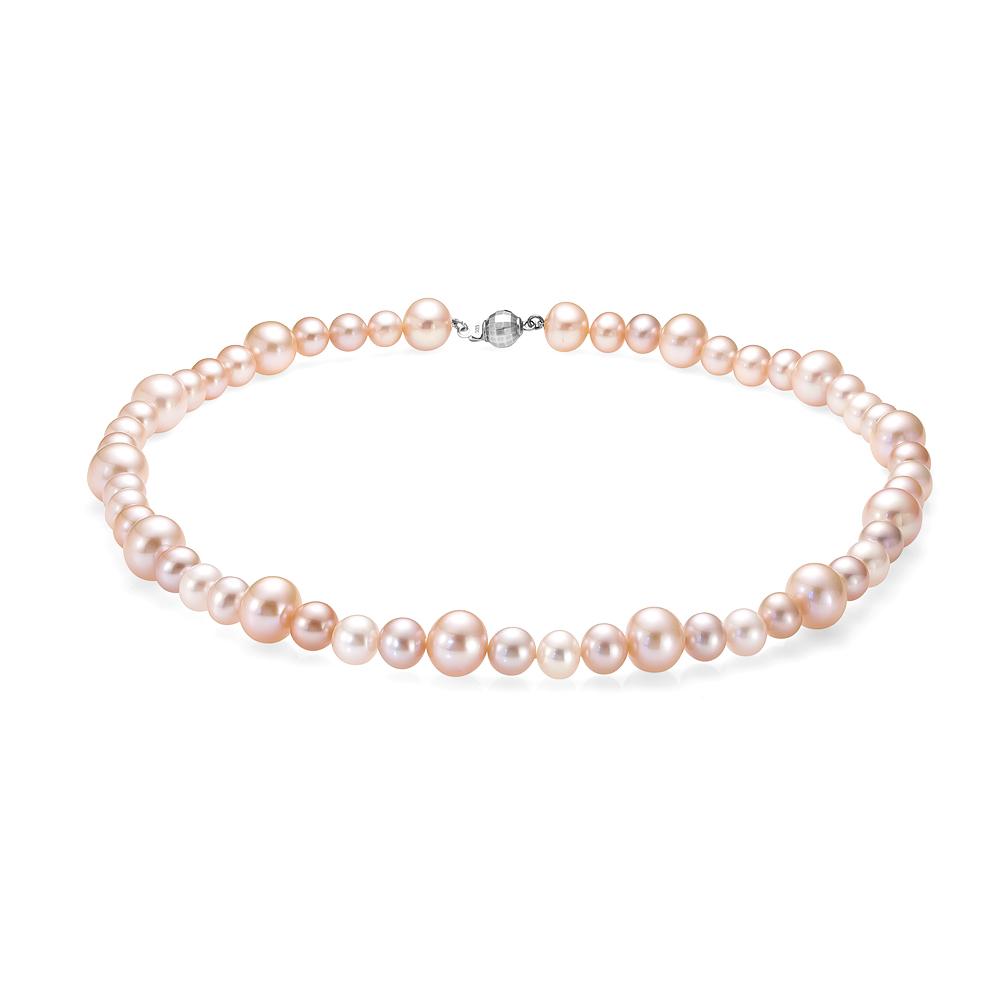 Ожерелье из персикового круглого речного жемчуга 7-10 мм