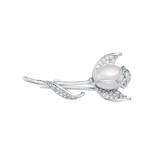 Брошь из серебра с белой рисовидной речной жемчужиной 7,5-8 мм
