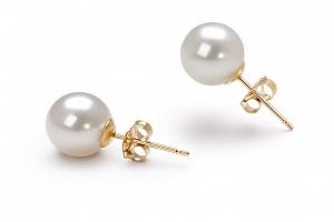 Пусеты на серебре с белой идеально круглой жемчужиной 8-8,5 мм