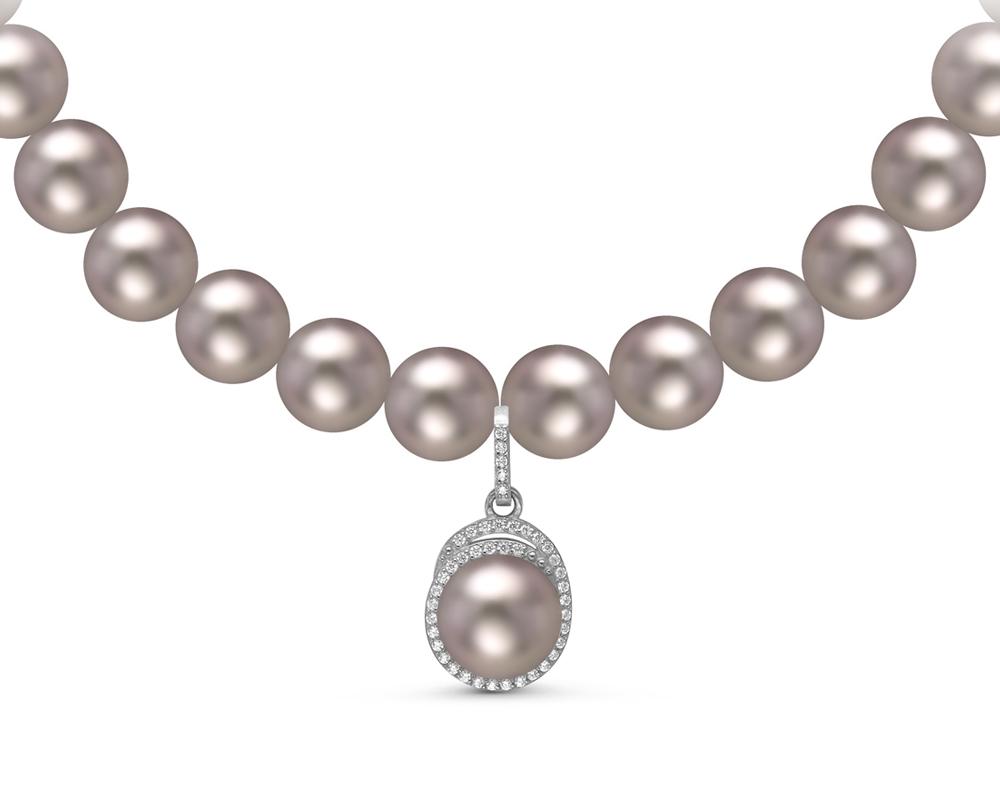 Ожерелье из серого круглого речного жемчуга с кулоном из серебра