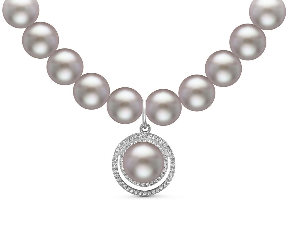 Ожерелье из серого круглого жемчуга с кулоном из серебра. Жемчуг 9-10 мм