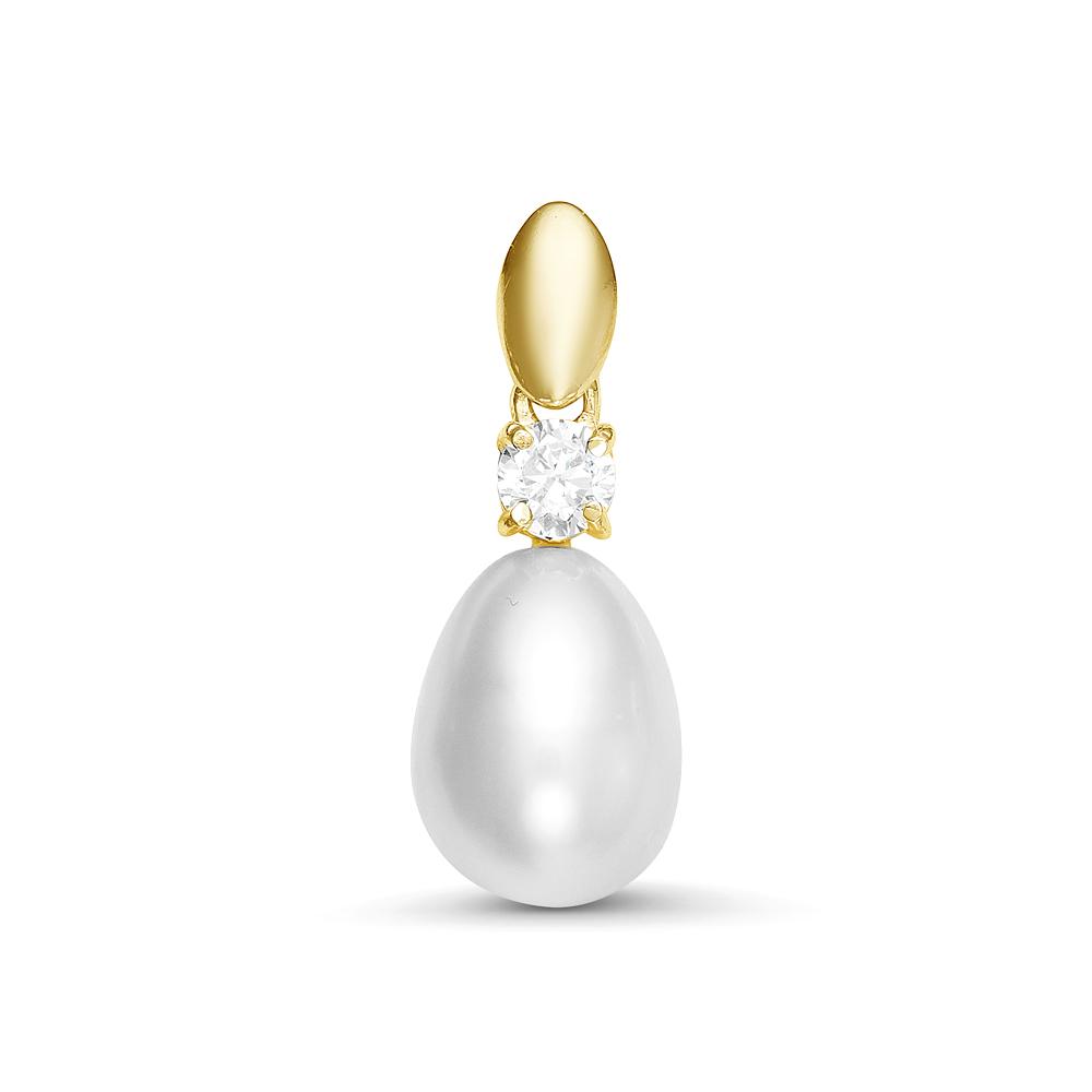 """Кулон из серебра с белой речной жемчужиной """"капля""""  9-9,5 мм"""