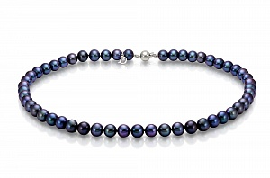 Ожерелье из черного морского круглого жемчуга (Южный Китай). Жемчужины 7-7,5 мм