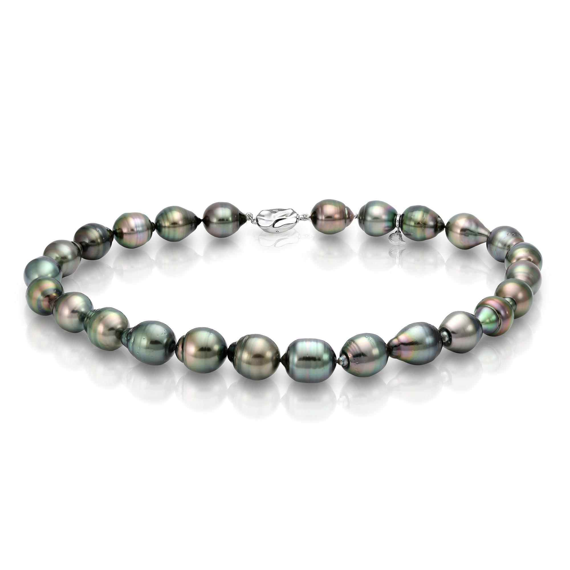"Ожерелье из черного морского Таитянского жемчуга ""Барокко"" 12,1-14,6 мм"