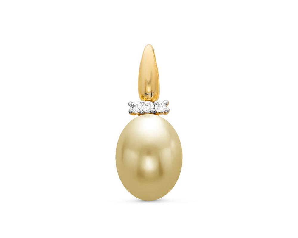 Кулон из серебра с золотистой каплевидной речной жемчужиной