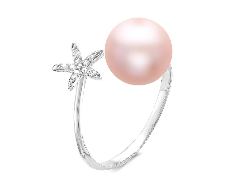 """Кольцо """"Диор"""" из серебра с розовой жемчужиной 7,5-8 мм"""
