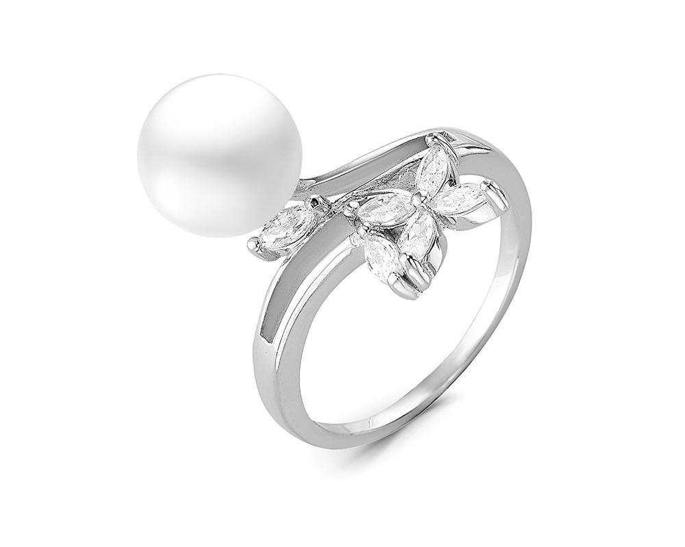 Кольцо из серебра с белой речной жемчужиной 9 мм