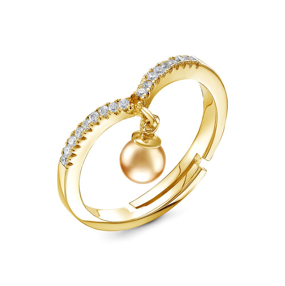 Кольцо из желтого золота с золотистой морской жемчужиной Акойя 8-8,5 мм