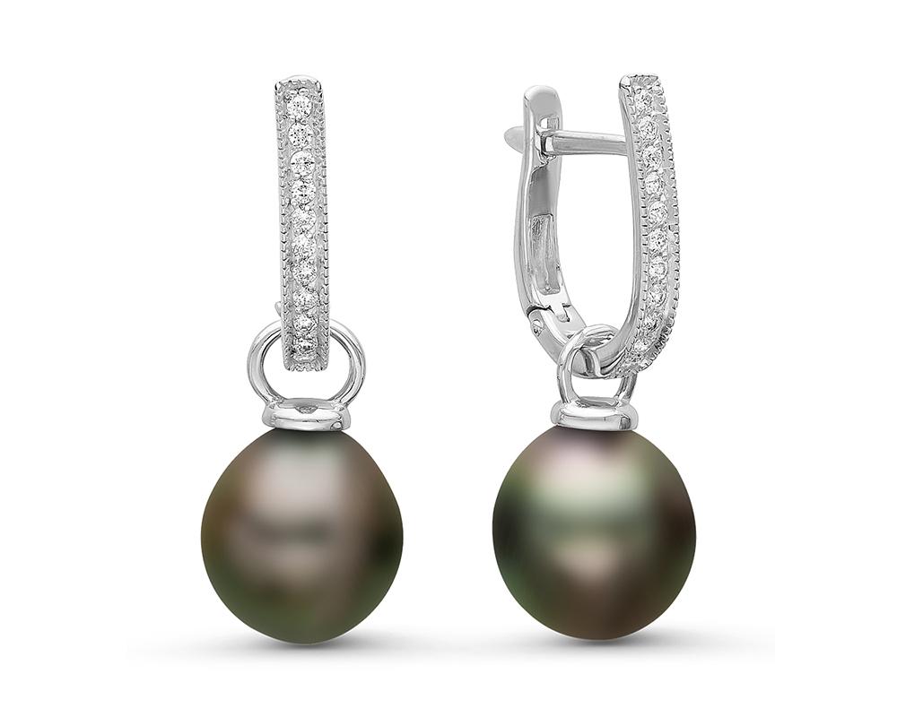Серьги из серебра c морскими Таитянскими жемчужинами