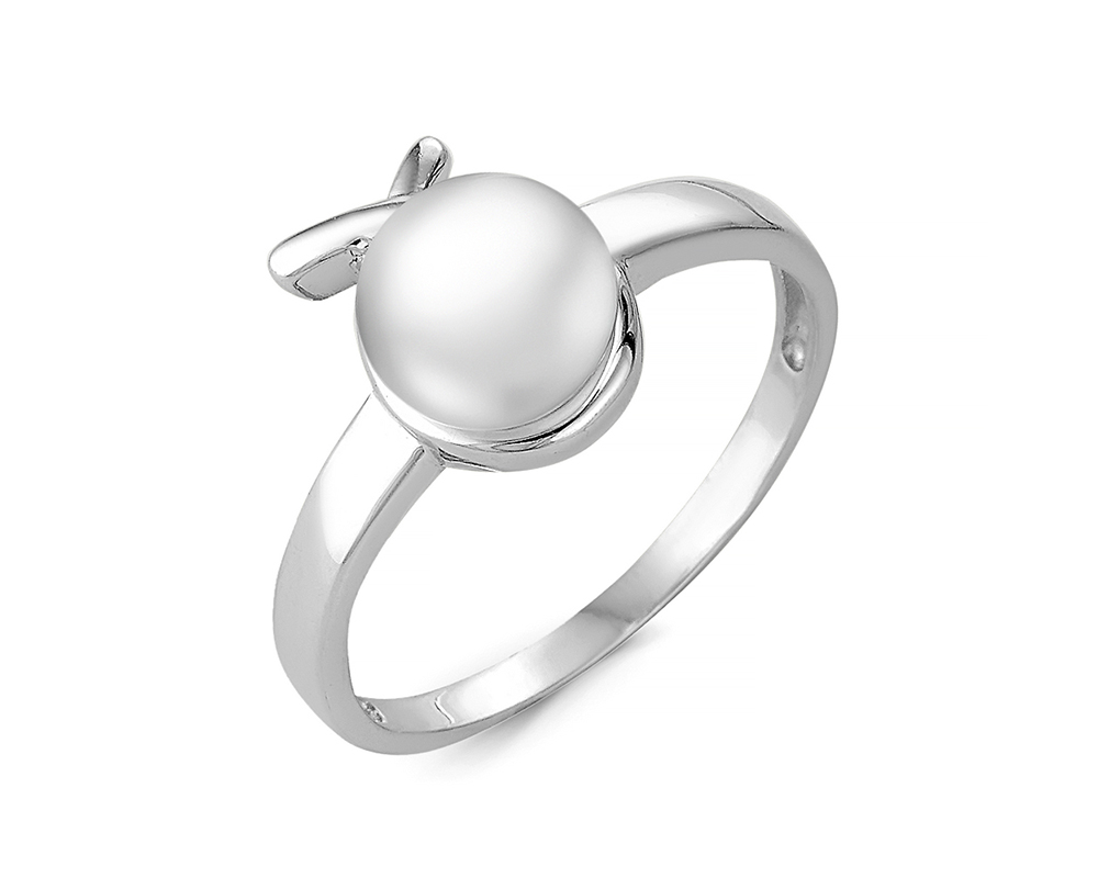 Кольцо из серебра с белой речной жемчужиной 7,5 мм
