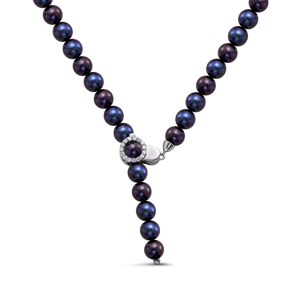 """Ожерелье """"галстук"""" из черного круглого пресноводного жемчуга 8,5-9,5 мм"""