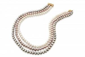 """Ожерелье 3-рядное """"микс"""" из круглого пресноводного жемчуга. Жемчужины 9-10 мм"""