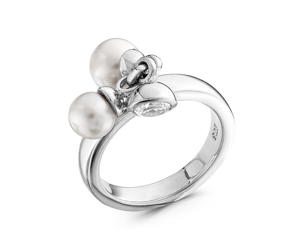 Кольцо из серебра с белыми жемчужинами 6 и 7 мм