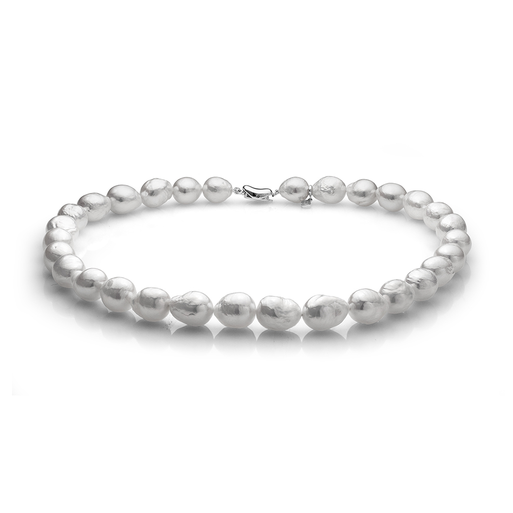 Ожерелье из белого барочного речного жемчуга. Жемчужины 10-12 мм