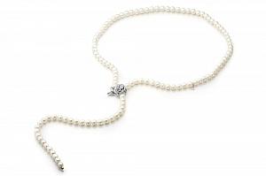 """Ожерелье """"галстук"""" из белого круглого пресноводного жемчуга. Жемчужины 6,5-7 мм"""
