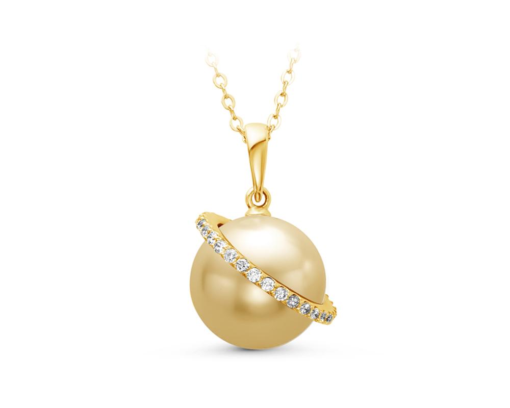 Подвеска из золота с золотистой морской Австралийской жемчужиной 12-12,5 мм