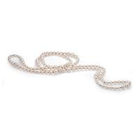 Длинные бусы из белого жемчуга со вставками из серебра. Жемчужины 6-11 мм