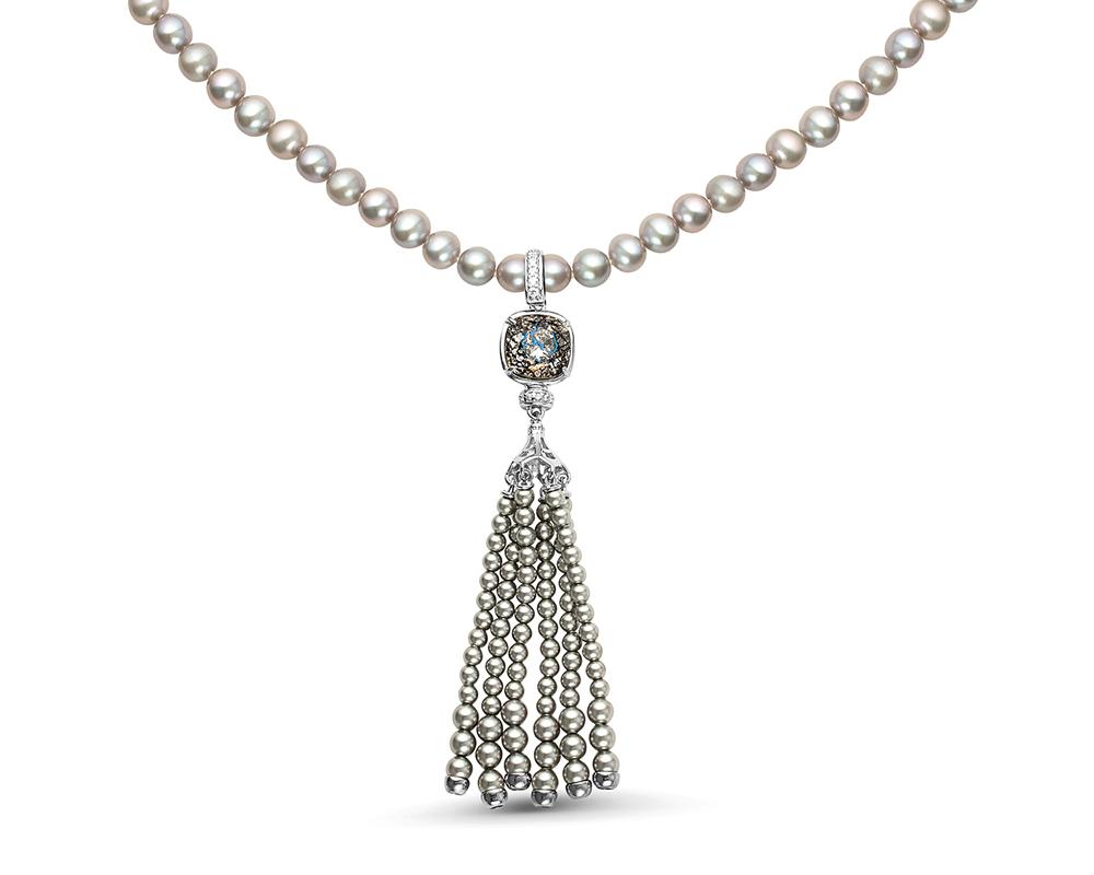 Ожерелье из серого жемчуга 6-6,5 мм с подвеской из серебра с жемчугом Сваровски