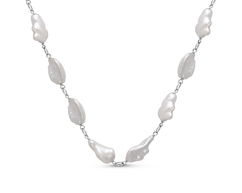 Колье из серебра 925 пробы с белыми барочными речными жемчужинами 11-14 мм