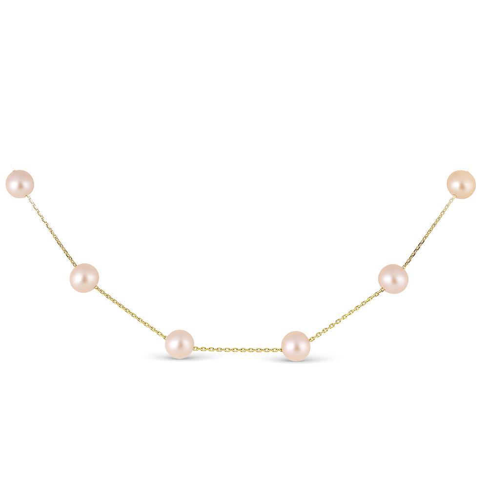 Цепочка из желтого золота с розовыми морскими жемчужинами 7-7,5 мм. Длина 40 см