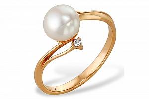 Кольцо из красного золота 585 пробы с белой жемчужиной 7-7,5 мм