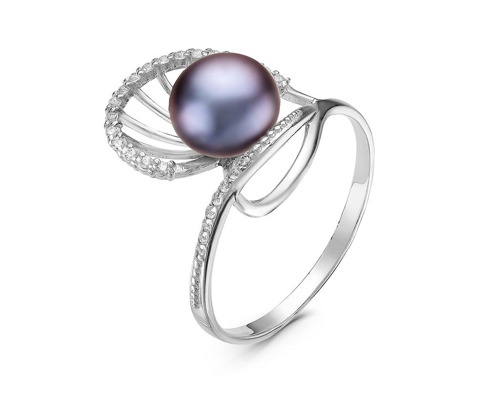 Кольцо из серебра с черной речной жемчужиной 8,5-9 мм
