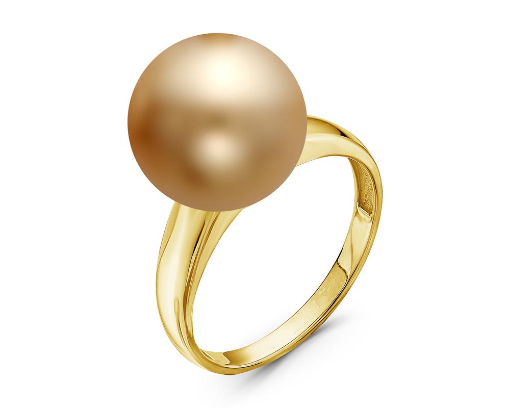 Кольцо из желтого золота с золотистой морской Австралийской жемчужиной 13,6-13,9 мм