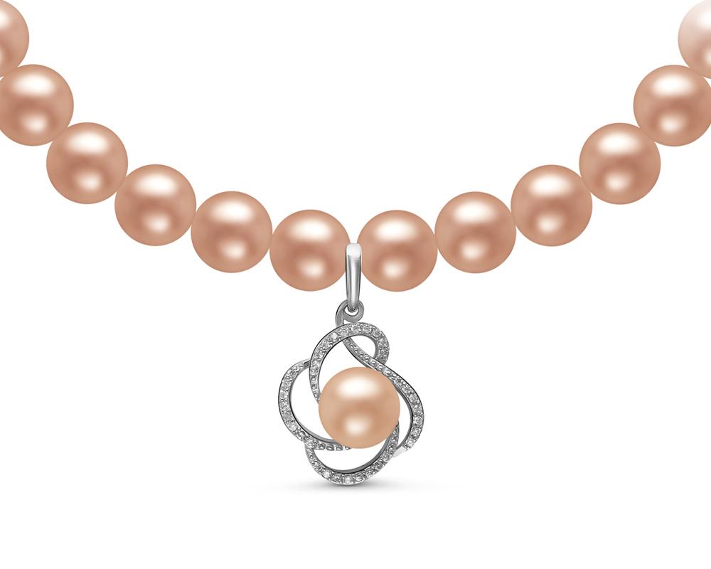 Ожерелье из розового круглого жемчуга с подвеской из серебра